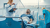 Patient lying on a hospital bed