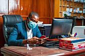 Businessman wearing face mask