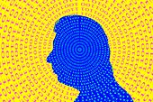 Binary code spiralling out of a man's head, illustration