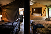 Beds in a yurt cabin