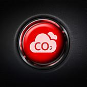Red carbon emission danger stop button, illustration