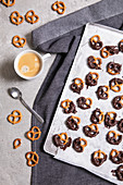 Dipped chocolate pretzels