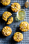 Carrot muffins with walnuts and honey