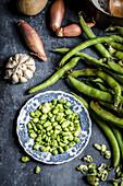 Making fava bean soup