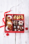 Assorted cookies in gift box
