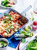 Paprika and lime pork enchiladas
