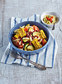 Pasta salad with beans and maize