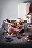 Tea and chocolate babka knots morning scene