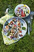 Chicken skewer (schaschlik) Greek style