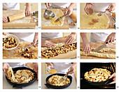 Apple cake with vanila sauce, step by step