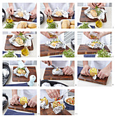 Baked potatoes with three stuffings, step by step