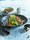 Noodle salad with eggplant