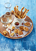 Party canapes made from French pastry