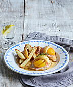 Chicken filet with peach, ham and cheese