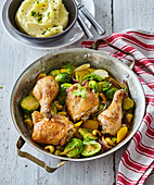 Chicken legs with Brussels sprouts Orient style