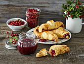 Croissants filled with cranberry jam