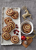 Cranberry and cinnamon rolls for Christmas