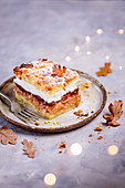 Autumn apple pie with marmalade and foam