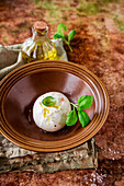 Burrata with olive oil and basil