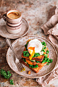 French toast with kale and poched egg