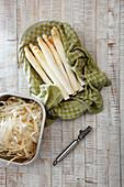 White asparagus spears and asparagus peels