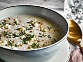Cream of cauliflower soup with cress