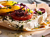 Grilled feta with vegetables