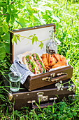 Picnic with vintage suitcases, basil pesto, ham, kale, tomato and herber cream cheese sandwiches, berry jam pastries and fizzy water