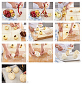 Baked apples in French pastry, step by step