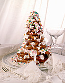 Christmas tree made from gingerbread cookies, with icing