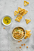 Chickpea hummus with legume chips