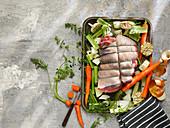 Raw Lamb Leg Boneless with Vegetable