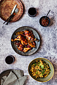 Roasted Chicken Portions in Plum Sauce with Egg Fried Brown Rice