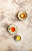 Milktart with Rooibos tea and squeezed lemon on Japanese designed ceramic saucers and bowls