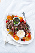 Bollito Misto with canned fruits (Italy)