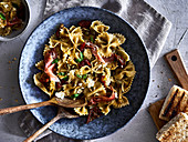 Farfalle pasta salad with ham and sundried tomatoes