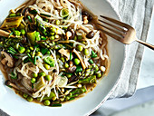 Konjac noodles with green asparagus, peas, and shiitake mushrooms