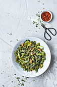 Spinach fusilli with herb mustard sauce