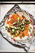 Rice and beans burritos with avocado