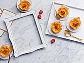 Gold Leaf Topped Strawberry Custard Tarts