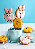 bunnies and chick cookie pops for Easter
