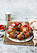 Poppy seed cake with strawberries