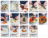 Prepare garden lasagne with thinly sliced zucchini and minced sunflower seeds