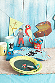 Party tableware and party accessories for a pirate themed party