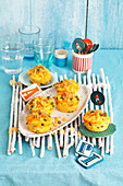 Macaroni and cheese muffin tin cups for a pirate themed party