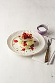 Pancake turrets with pistachio ice cream and strawberries