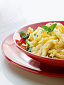 Cheese spaetzle in bowl with spoon