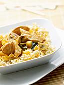 Murgh Kashmiri - chicken, pineapple, and mushroom stirfry served on rice
