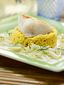 Monkfish with barley risotto and fennel