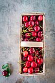 Sweet cherries in a basket